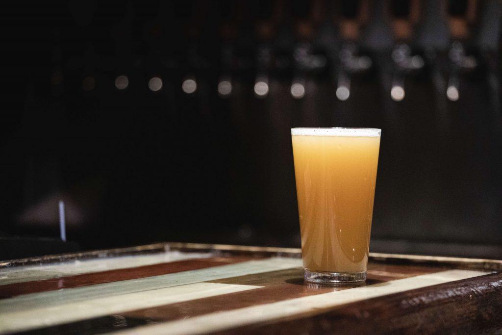 hazy ipa on bar